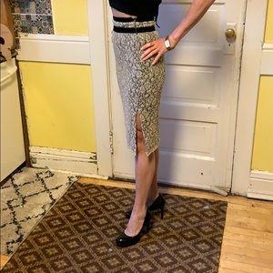 Carolina Herrera Sequin & Lace W Black Midi Skirt